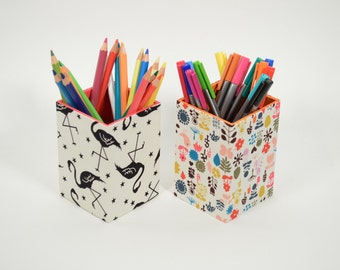 Pencil Holder - Flamingo Pencil Pot - Fabric Pot - Desk Organizer - Pen Holder - Makeup Brush Holder