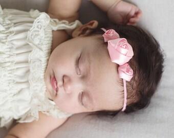 Pink baby headband - pink hair band - girls headband - hair bands - skinny elastic headband - newborn photo props - newborn headband