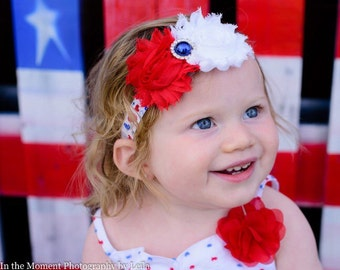 Patriotic 4th of July hair band - red white and blue headband - 4th of July hair accessories - forth of July hair band -girls hair band