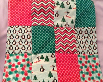 Penguin Christmas patchwork table cover