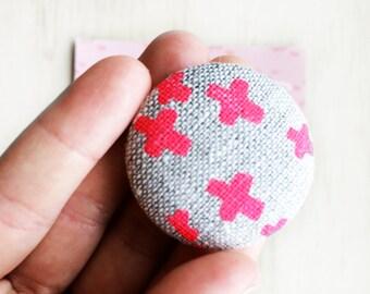 Screen Printed Bright Pink Oatmeal Linen Button Set / Flat Back Button's / 38 mm