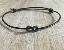 Infinity Bracelet, Unisex, Simple Bracelet, Minimalist Bracelet, Leather Bracelet, Black Leather Bracelet LB001273