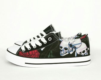 Skull shoes, custom shoes, custom converse, skull roses pumps, skull converse style plimsolls, women shoes, alternative, rockabilly, gothic