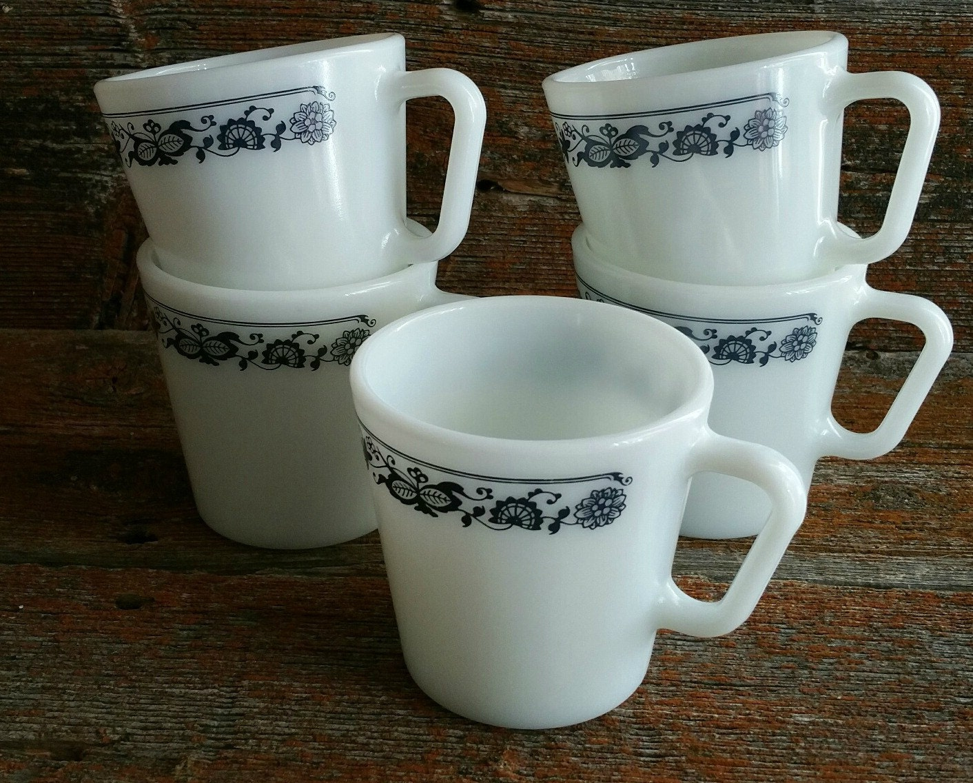 Vintage Pyrex Old Town Blue Coffee Mugs Set Of 5 Pyrex Coffee