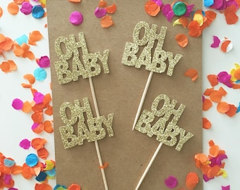 OH BABY Cupcake Toppers, Baby Shower Glitter Toppers, It's a girl cupcakes, it's a boy, gender reveal toppers, glitter toppers, oh boy