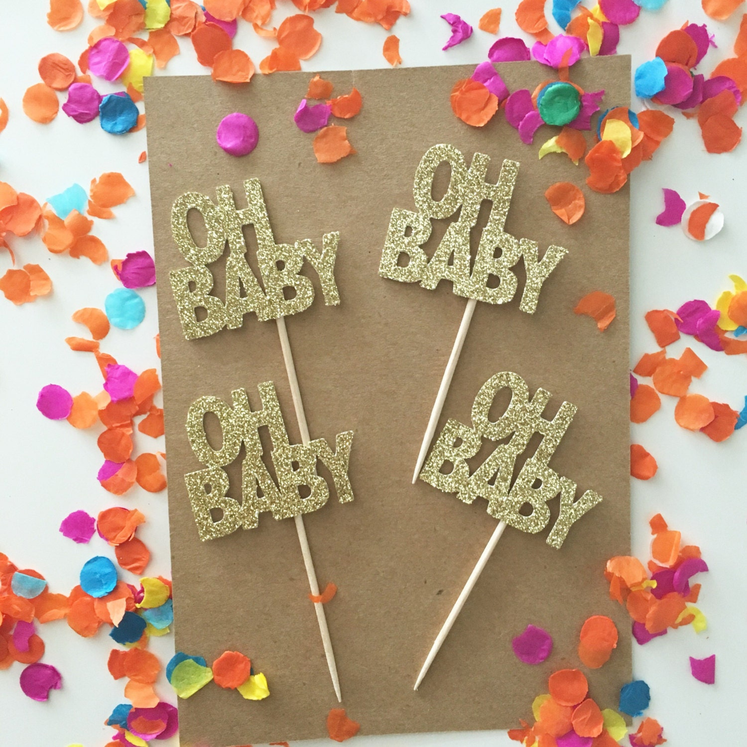 OH BABY Cupcake Toppers Baby Shower Glitter Toppers It s