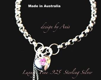 Pink Heart Fine Jewellery Bracelets Pure .925 Sterling Silver Made in Australia