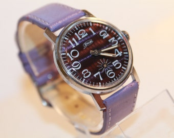 Watch ZiM – soviet watch men – Violet strap watch men – gift for him watch – mechanical watch man –USSR 1980s