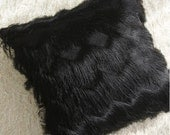 """Black Finges Embellished Square Throw Pillow Cover 18"""" X 18"""" Perfect for Housewarming Gift"""
