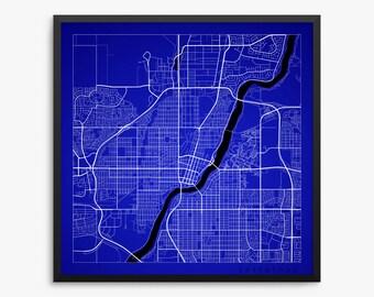 Saskatoon City Street Map, Saskatoon Canada, Modern Art Print