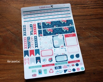 F045 & F046 - Blue and Pink Floral Weekly Kit Horizontal/Vertical Planner Stickers | Perfect for Your Erin Condren Life Planner