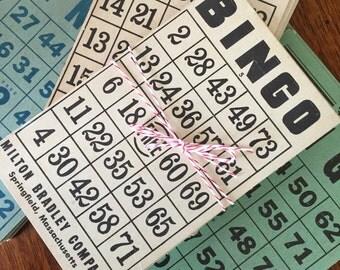 Vintage Bingo Cards, Bingo Game Cards, Craft Supplies, Art Supplies (7 cards per order)