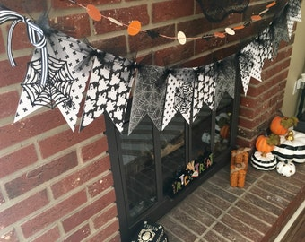 Halloween Bunting, Black and White Halloween Banner, Ghost and Spider Web Bunting