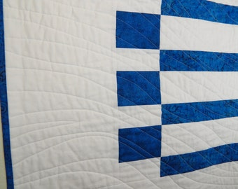 Handmade Baby Quilt, Nautical Modern Design in Blue and White, for Baby Boy or Baby Girl Quilt or Wall Hanging