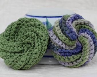 Dish scrubbies ~ Kitchen scrubbies ~ Dishcloth ~ Reusable sponge ~ Crochet spiral scrubbies ~ Crochet dishcloths ~ Cotton dishcloths