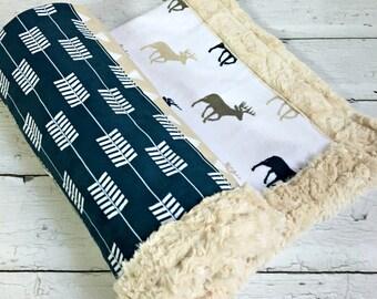Deer Baby Blanket -  Faux Quilt - Designer Minky - Beige
