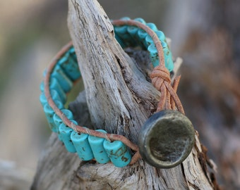 Handmade Single Wrap Bracelet - Turqoise Magnesite