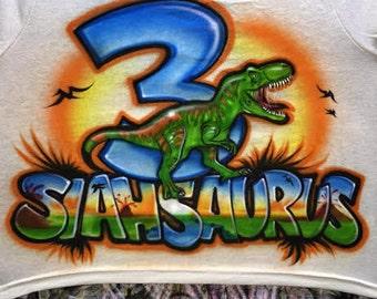 Airbrushed Dinosaur Birthday tshirt