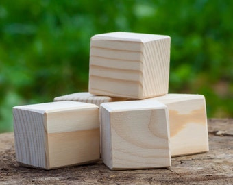 Set of 5 unfinished wooden cubes , 45x45 mm - natural eco friendly