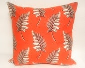 "Orange & Silver Cushion, 100 % Organic Cotton, Feather Pattern Suitable For 16x16"" 18x18"" 20x20"" and 22x22"" pads. Button Enclosure. Orange"