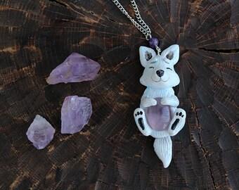 Arctic Fox Amethyst Necklace, Polymer Clay Cute White Fox Pendant