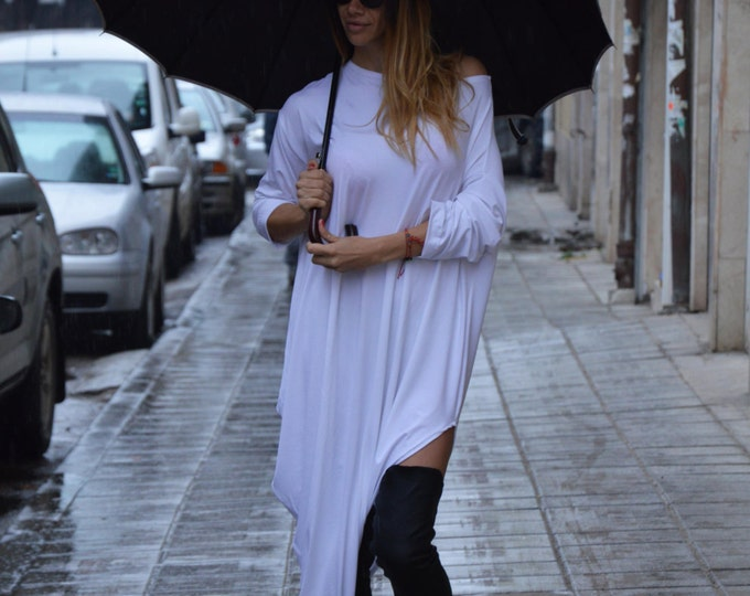 Plus Size Asymmetric Sleeves Dress, Summer White Kaftan, Maxi Cotton Tunic Top, Party Tunic by SSDfashion