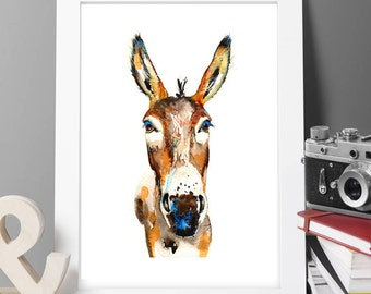Contemporary Watercolour ART PRINT Original LIMITED Edition Signed Donkey On Watercolour Thick 300 gsm Paper Free Shipping To United Kingdom