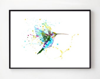 Buy 2 get 1 free  Hummingbird painting,large signed painting,vintage painting,animal paitning,animal art, gift,buy 2 get 1 free nursery art