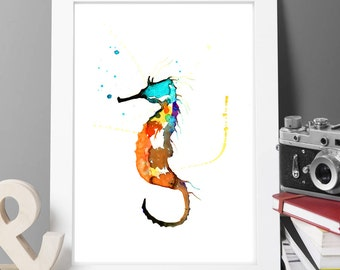 original watercolor sea horse paitning,painting,watercolor rooster,print, painting large paiting,buy 2 get 1 free at voleika art