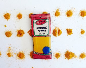 Wearable Art Brooch: Turmeric