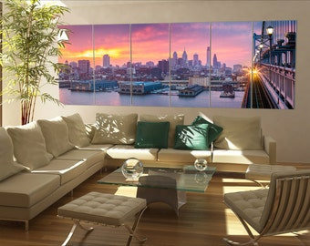 6 panels / boards Philadelphia skyline at night with urban architecture  Large panorama panoramic canvas art wall art
