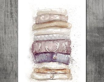 Big Watercolor print: Knits in neutral tones