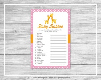 Giraffe Baby Shower Baby Babble Game - Printable Baby Shower Baby Babble Game - Pink Giraffe Baby Shower - Baby Word Scramble - SP129