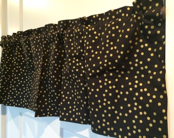 Black & Gold Polka Dot Handmade Valance curtain 100% cotton