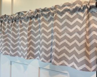 Gray and White Chevron zig zag any room Curtain Valance