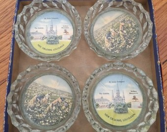 Set of 4 Vintage Glass New Orleans Coasters