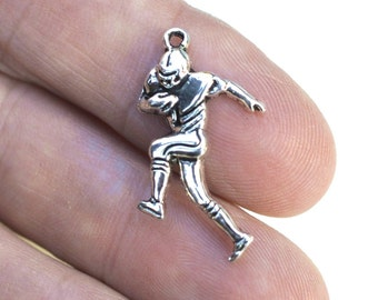 Football Player Charm, Sports Charm, 10 Charms, #CH317, Football Charms, Antique Silver Charms, athletic  Charms, 10 pieces Charm