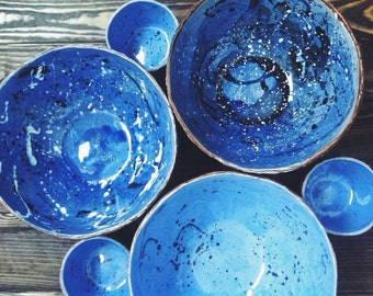Ceramic handmade space bowl set