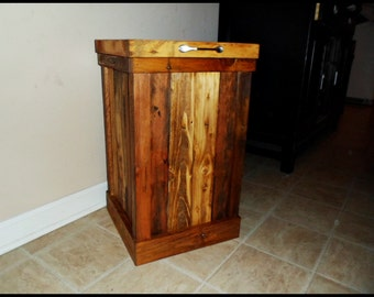 wood trash can rustic kitchen decor by ourtwistedcreations