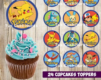 24 Pokemon Cupcakes Toppers instant download, Printable Pokemon party cupcakes Topper, Pokemon toppers, 2 INCHES