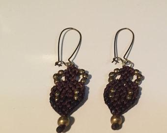 Handmade cross stitch maroon thread with brass beads and brass hooks