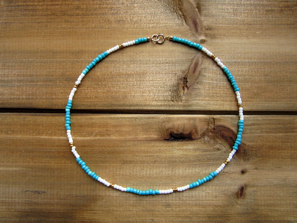 teal white and gold choker gold beaded choker necklace