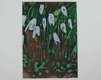 Snowdrops textile art