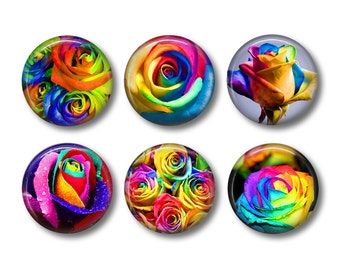 Rainbow Roses Magnets, Fridge Magnets, Kitchen Magnets, Button Magnets, Fridge Magnet Set, Cute Fridge Magnets