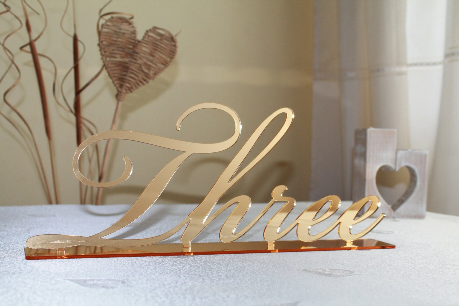 Gold Mirror Table Numbers Large Cursive Freestanding Script ...