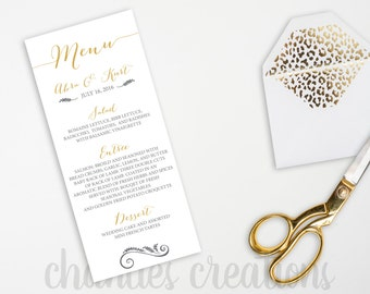 "PRINTABLE Gold Script Wedding Menu. Gold Wedding Menu. Printable Wedding Menu. 4x9"" and 5X7"""