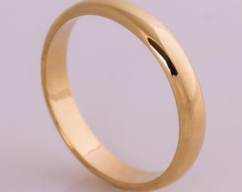 18k gold wedding band simple wedding band yellow gold ring domed wedding band