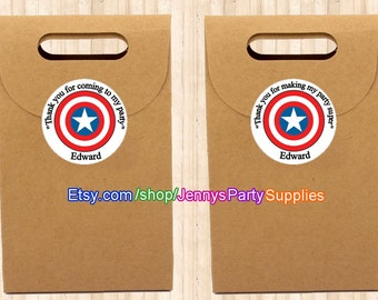 12PCS Captain America Stickers, Personalized Stickers, Captain America's Shield Goody Bag Stickers, Favor Stickers, Goody Bag Labels