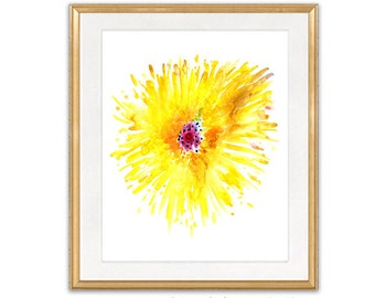 Yellow Flower Watercolor Art Print, Watercolor Poster, Home Wall Decor - 79