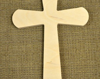 Wooden Cross Cutout Unpainted - Wood Cross Wall Decor - Unfinished Cross Crafting Supplies, Paint It Yourself Cross (Style 003)